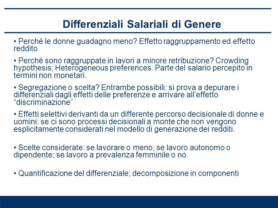 Differenziali Salariali di Genere