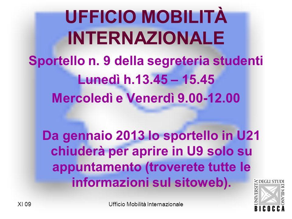 UFFICIO MOBILITÀ INTERNAZIONALE