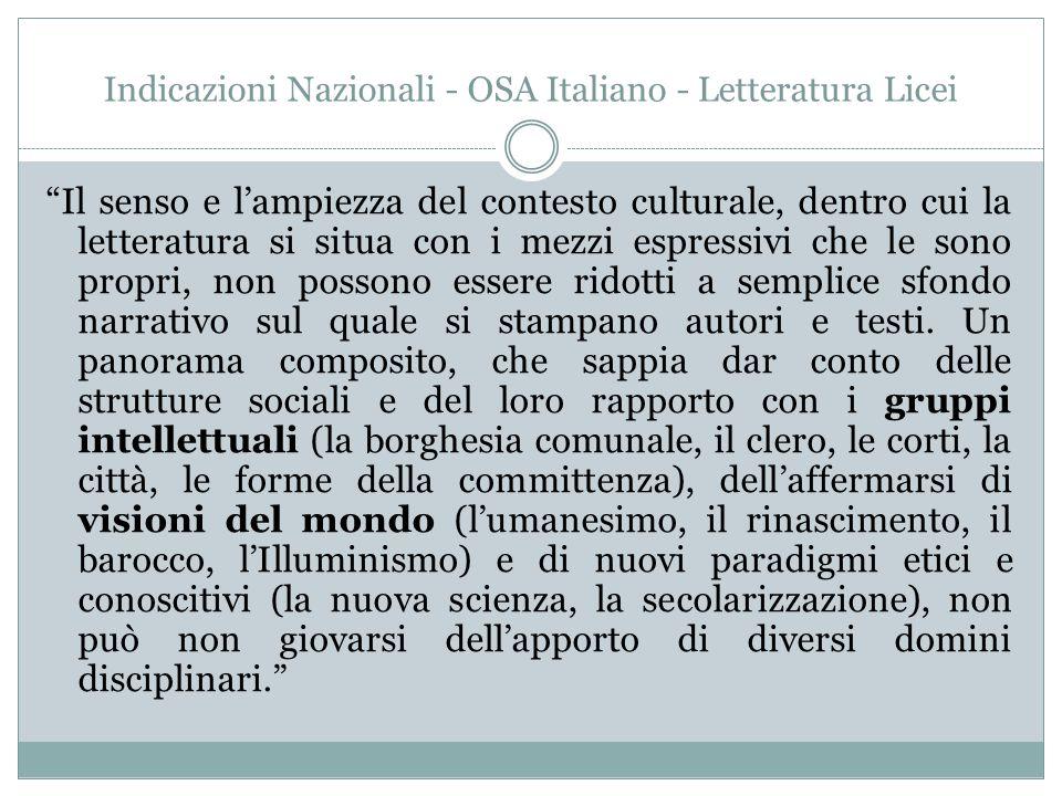 Indicazioni Nazionali - OSA Italiano - Letteratura Licei