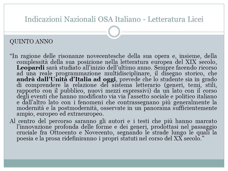 Indicazioni Nazionali OSA Italiano - Letteratura Licei