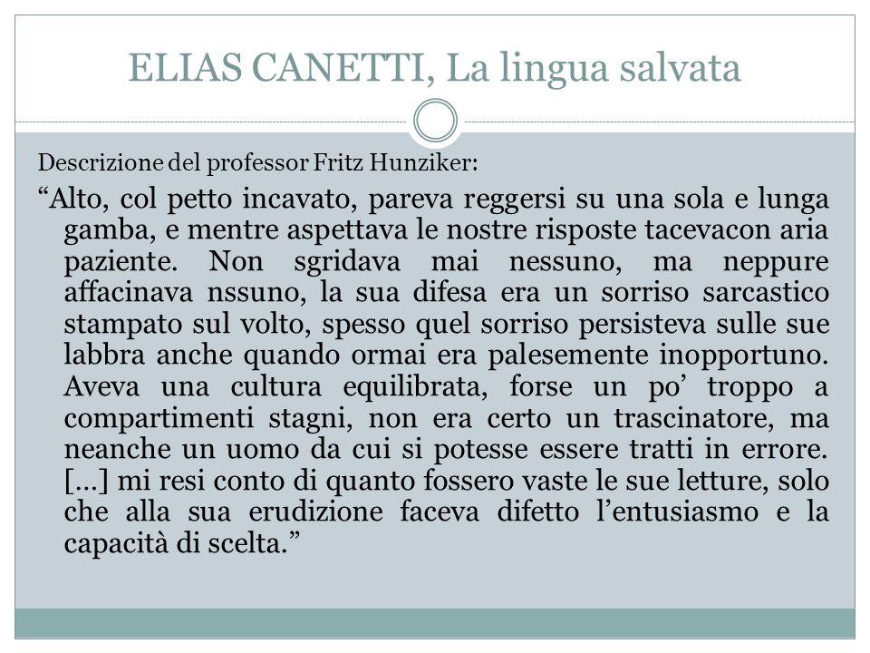 ELIAS CANETTI, La lingua salvata