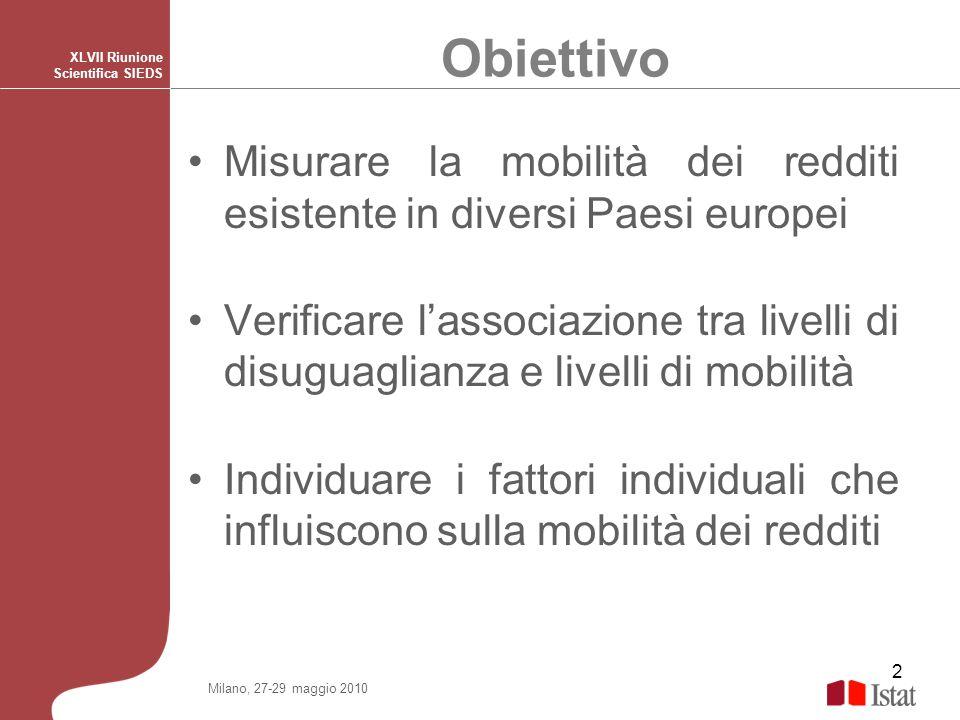 Obiettivo XLVII Riunione Scientifica SIEDS. Misurare la mobilità dei redditi esistente in diversi Paesi europei.