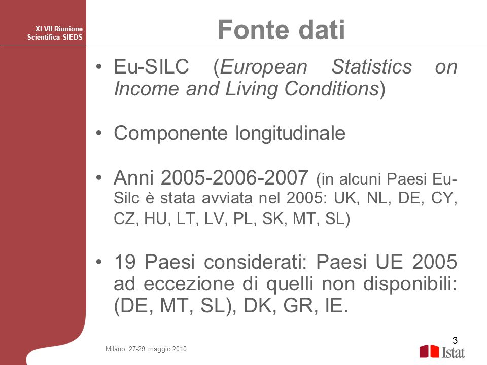 Fonte datiXLVII Riunione Scientifica SIEDS. Eu-SILC (European Statistics on Income and Living Conditions)
