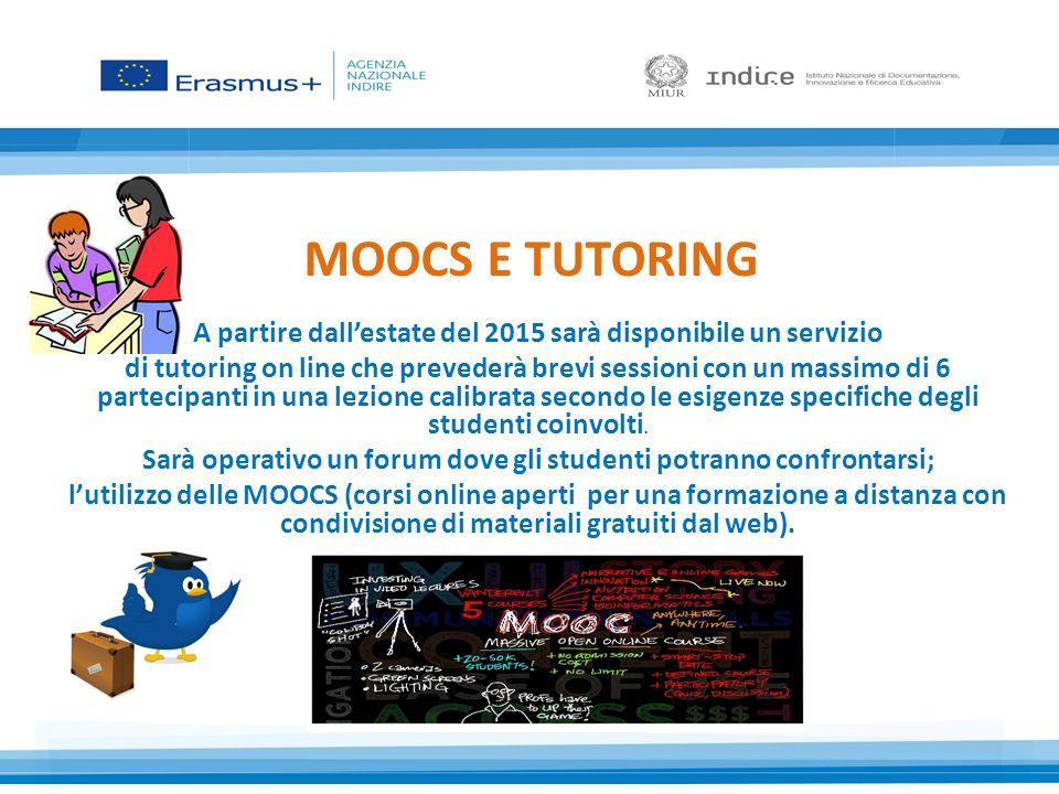MOOCS E TUTORING A partire dall'estate del 2015 sarà disponibile un servizio.