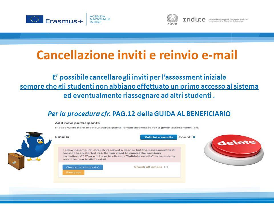 Cancellazione inviti e reinvio e-mail