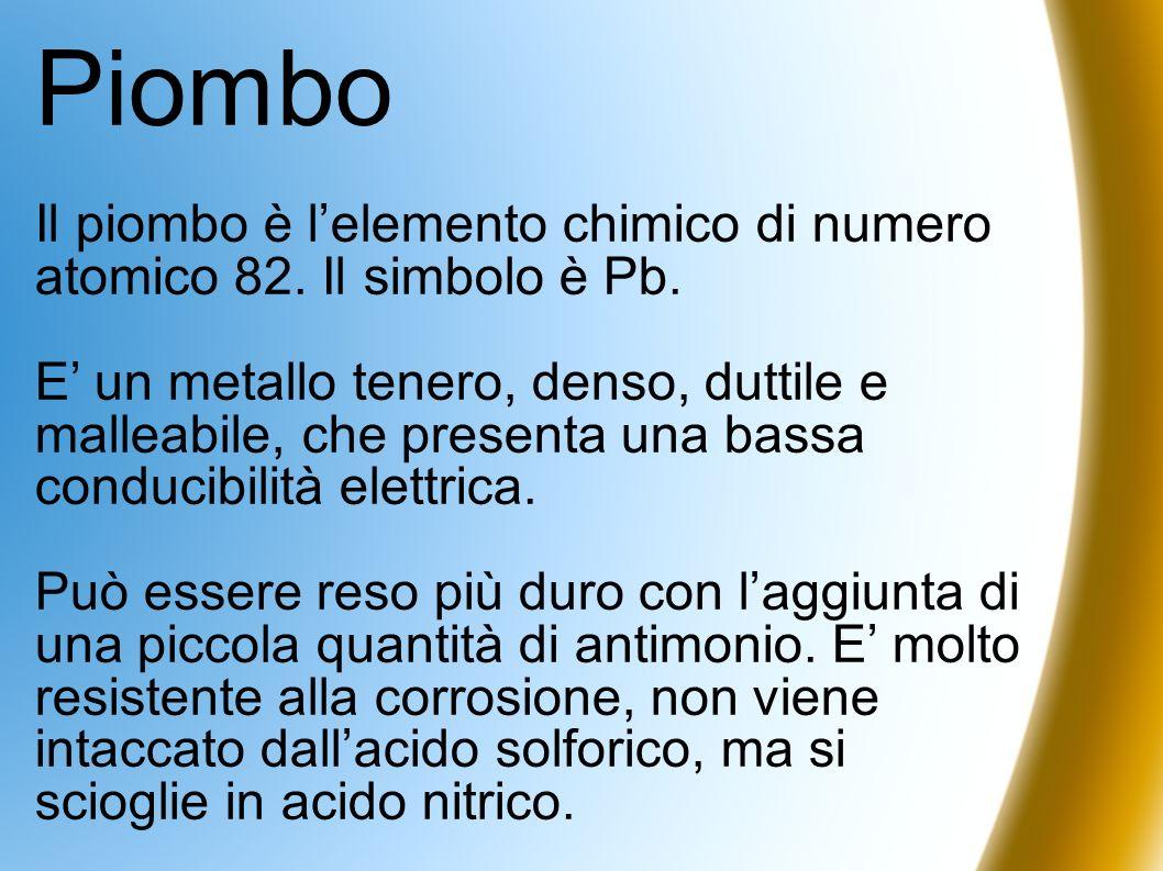PiomboIl piombo è l'elemento chimico di numero atomico 82. Il simbolo è Pb.