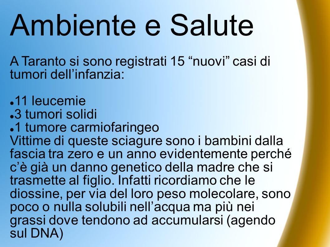 Ambiente e SaluteA Taranto si sono registrati 15 nuovi casi di tumori dell'infanzia: 11 leucemie.