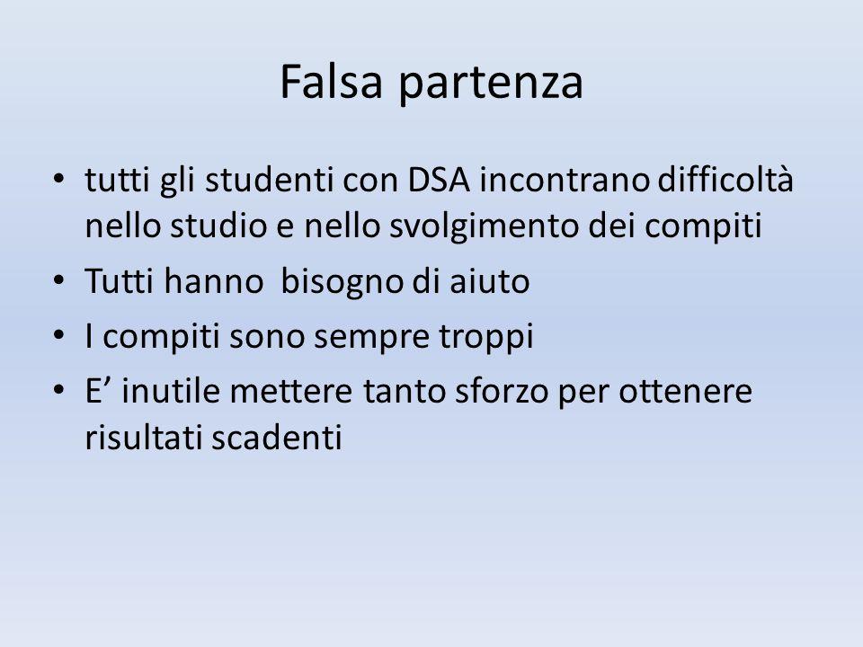 Falsa partenza tutti gli studenti con DSA incontrano difficoltà nello studio e nello svolgimento dei compiti.