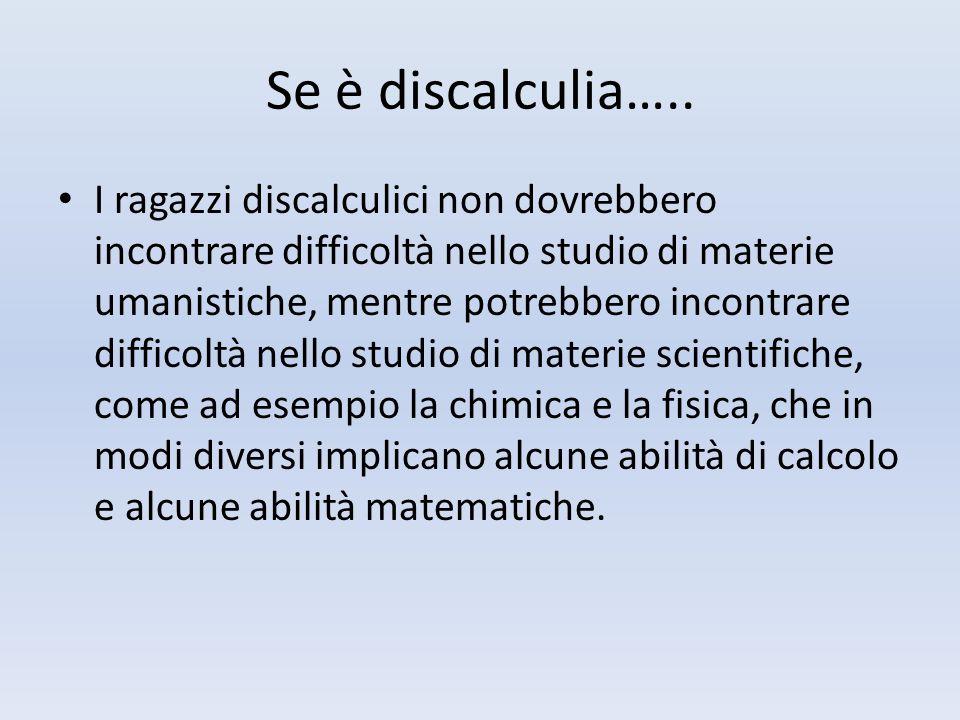 Se è discalculia…..