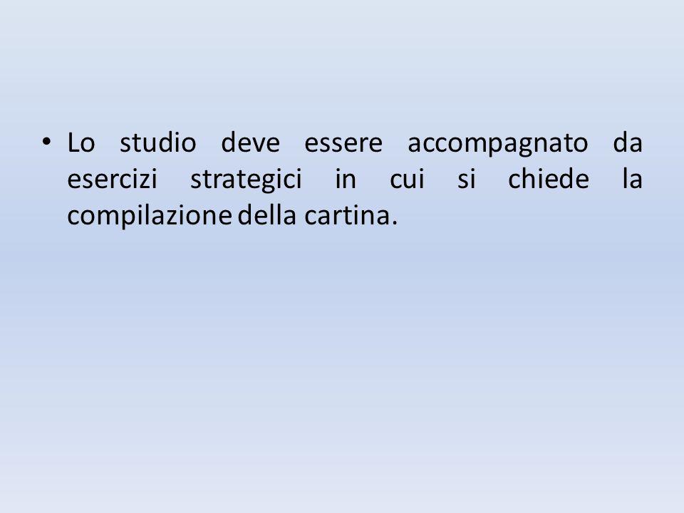 Lo studio deve essere accompagnato da esercizi strategici in cui si chiede la compilazione della cartina.
