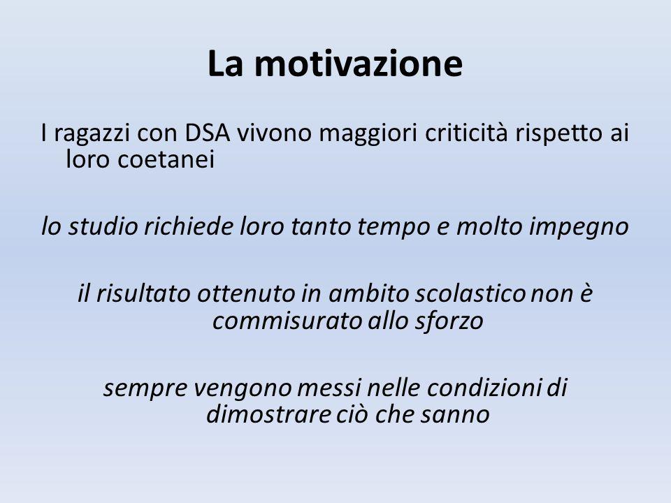 La motivazione I ragazzi con DSA vivono maggiori criticità rispetto ai loro coetanei. lo studio richiede loro tanto tempo e molto impegno.