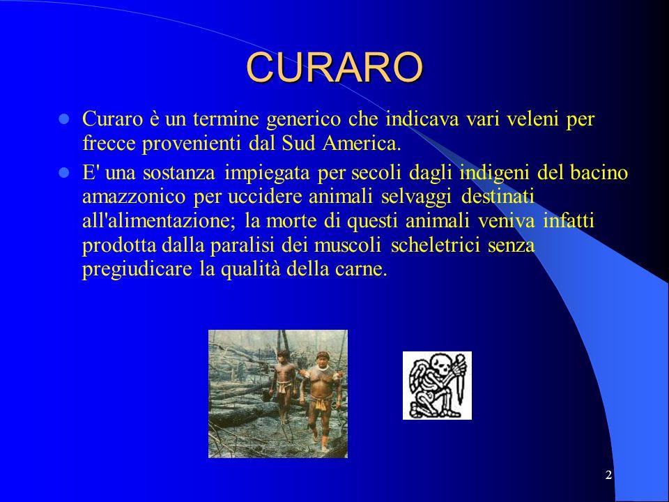CURARO Curaro è un termine generico che indicava vari veleni per frecce provenienti dal Sud America.