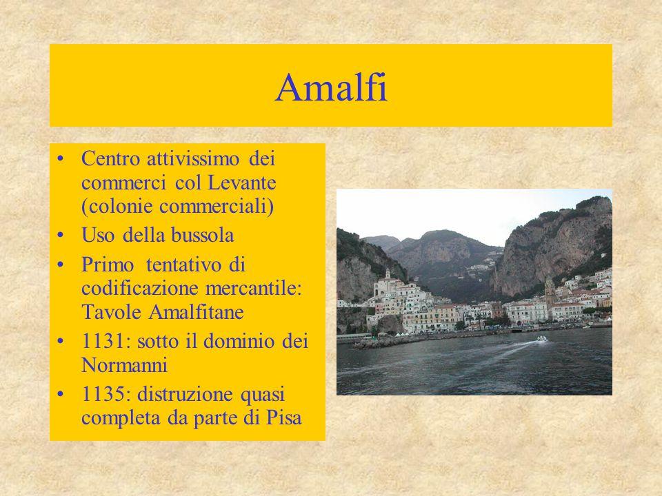 Amalfi Centro attivissimo dei commerci col Levante (colonie commerciali) Uso della bussola.