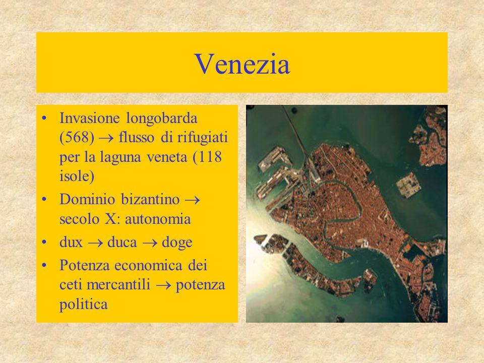 Venezia Invasione longobarda (568)  flusso di rifugiati per la laguna veneta (118 isole) Dominio bizantino  secolo X: autonomia.