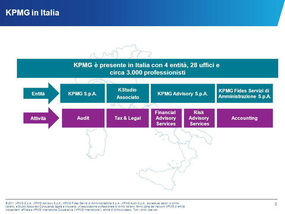 KPMG in Italia KPMG è presente in Italia con 4 entità, 28 uffici e circa 3.000 professionisti. Entità.