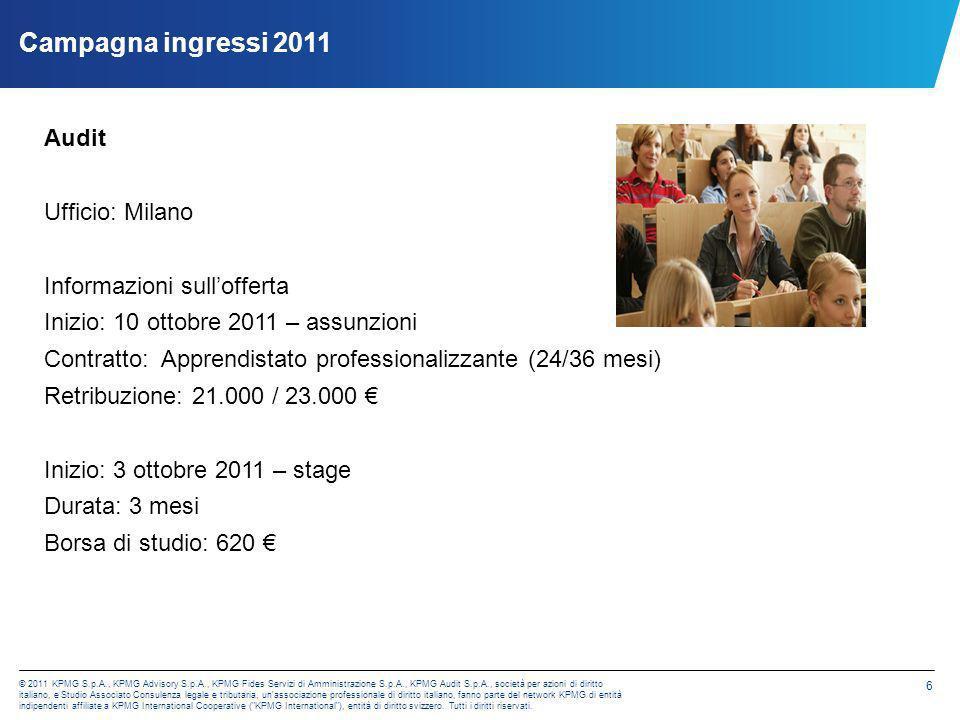Campagna ingressi 2011 Audit Ufficio: Milano Informazioni sull'offerta