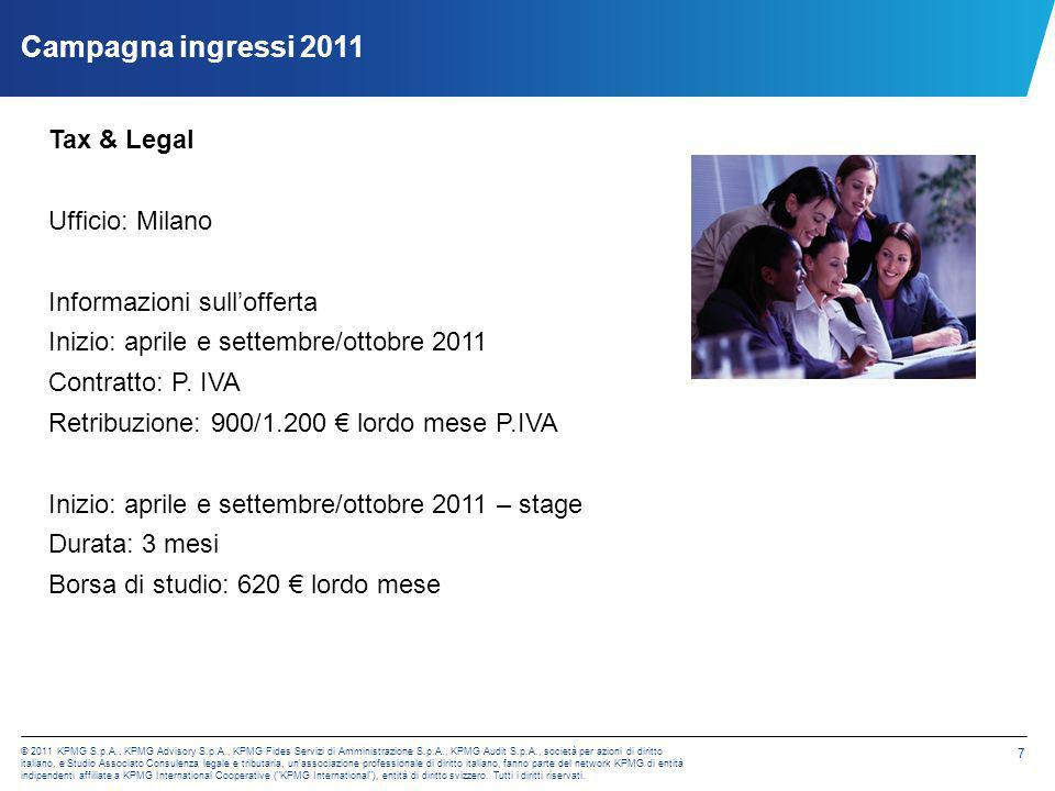 Campagna ingressi 2011 Tax & Legal Ufficio: Milano