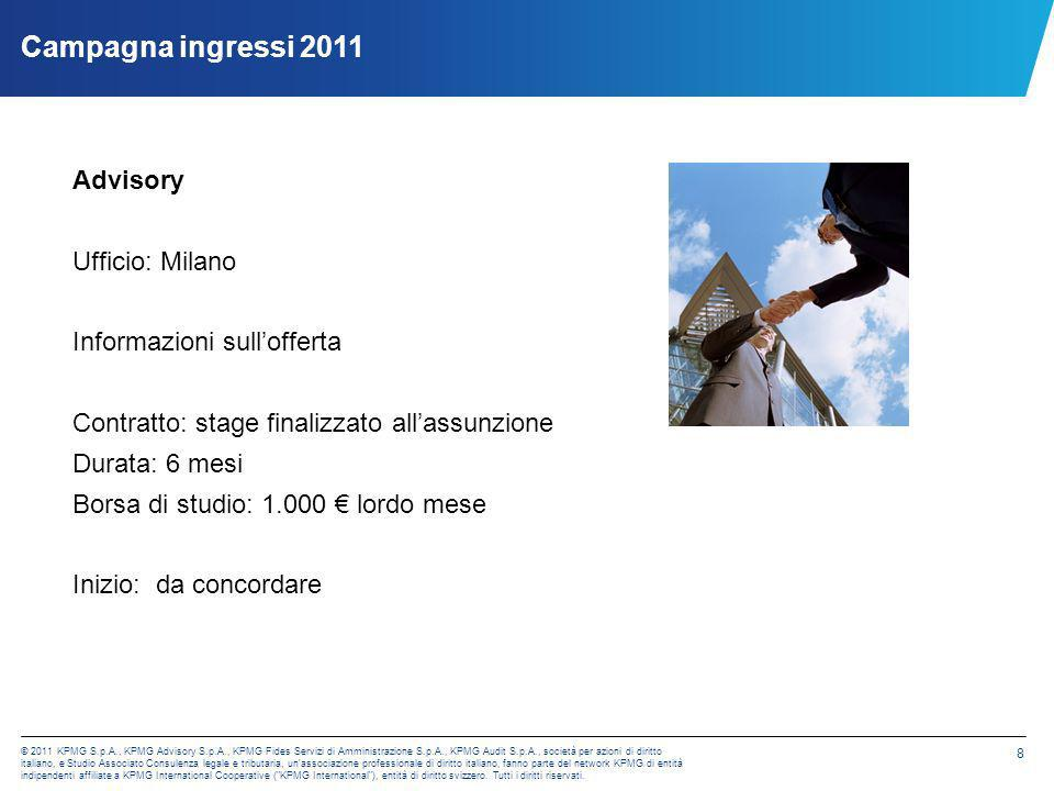 Campagna ingressi 2011 Advisory Ufficio: Milano