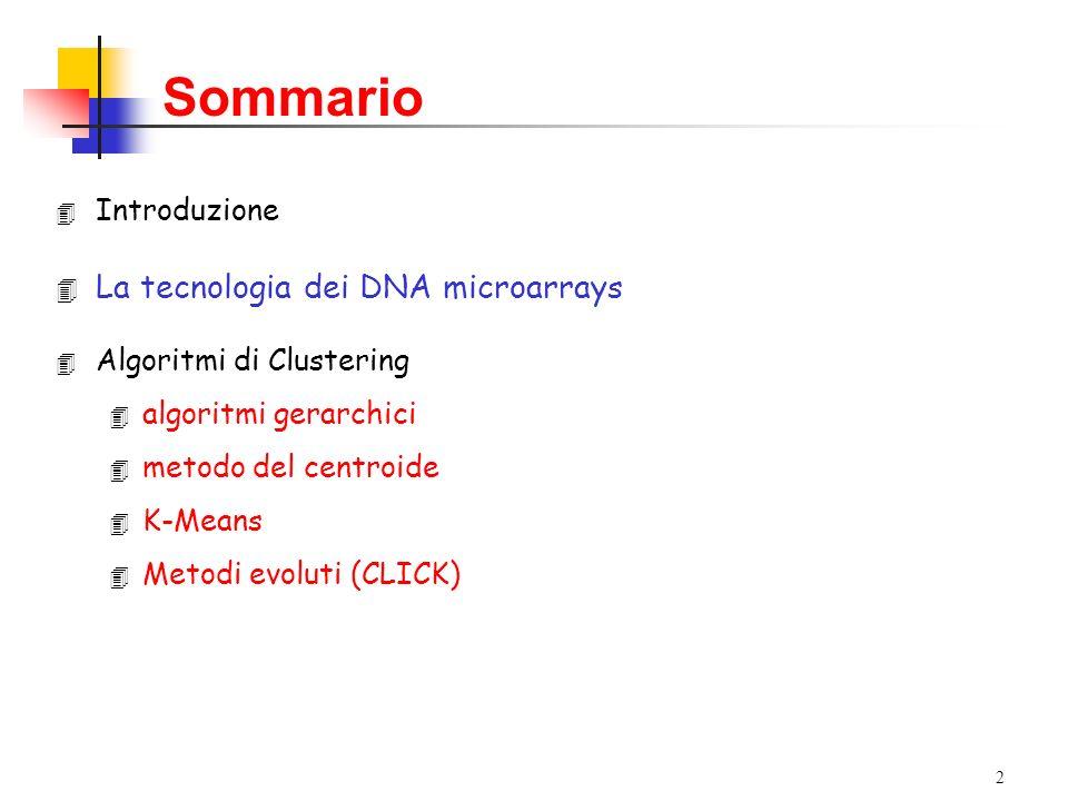 Sommario La tecnologia dei DNA microarrays Introduzione