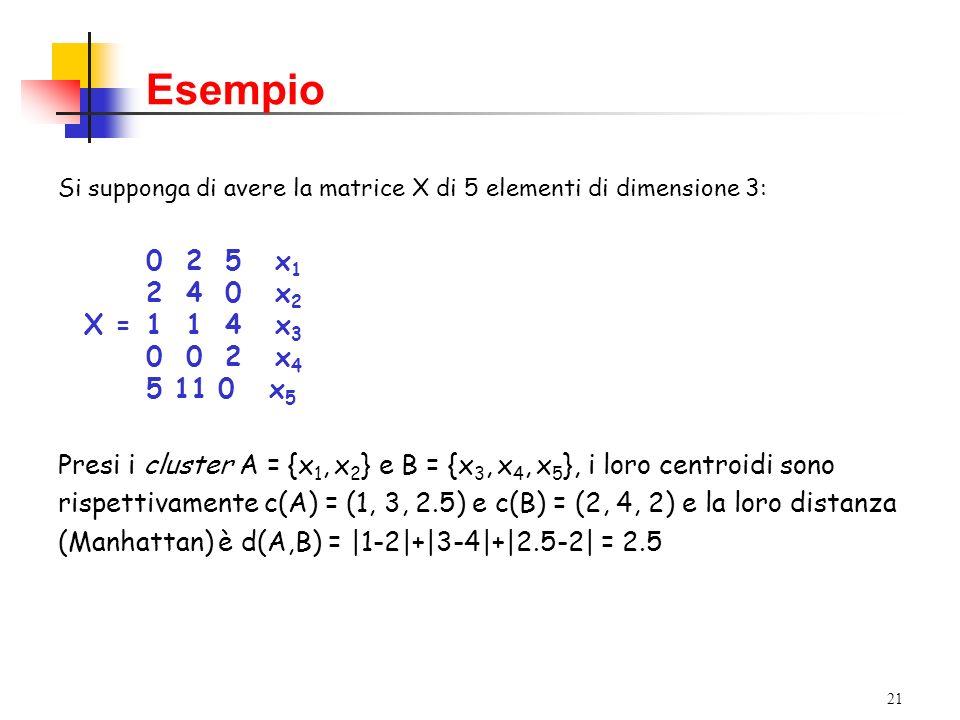 Esempio Si supponga di avere la matrice X di 5 elementi di dimensione 3: 0 2 5 x1. 2 4 0 x2.