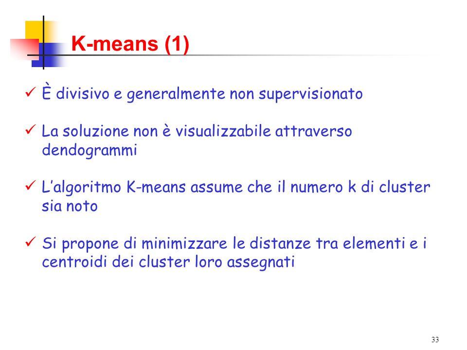 K-means (1) È divisivo e generalmente non supervisionato