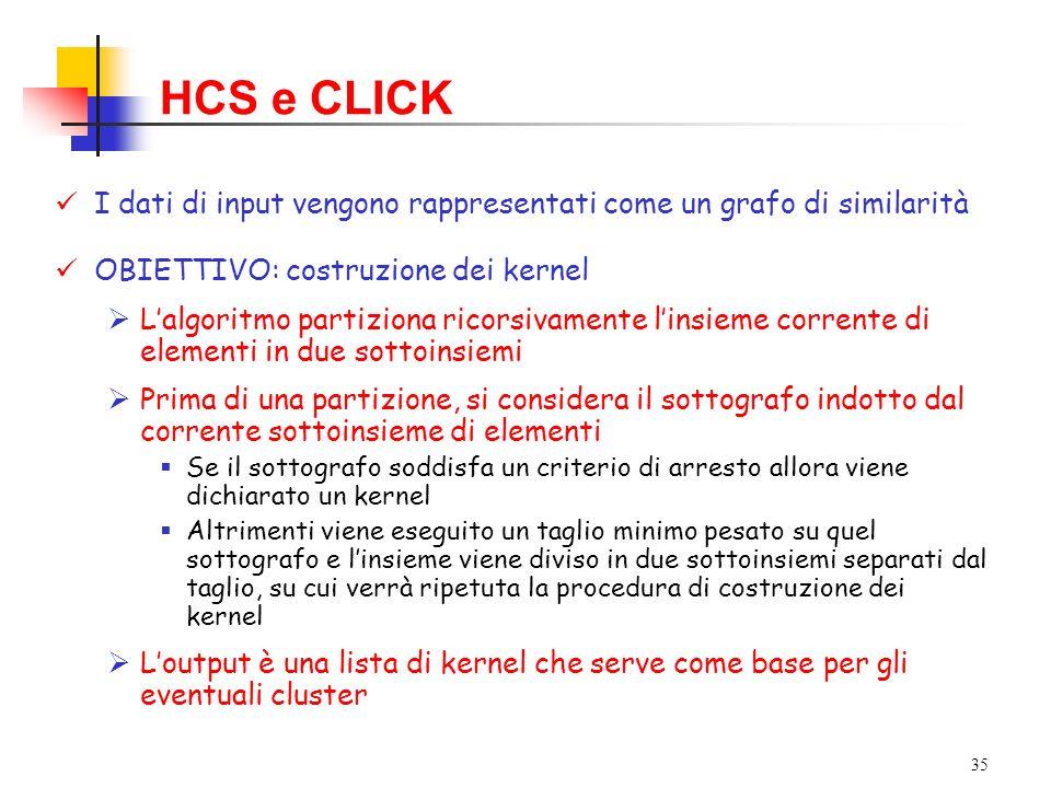 HCS e CLICK I dati di input vengono rappresentati come un grafo di similarità. OBIETTIVO: costruzione dei kernel.