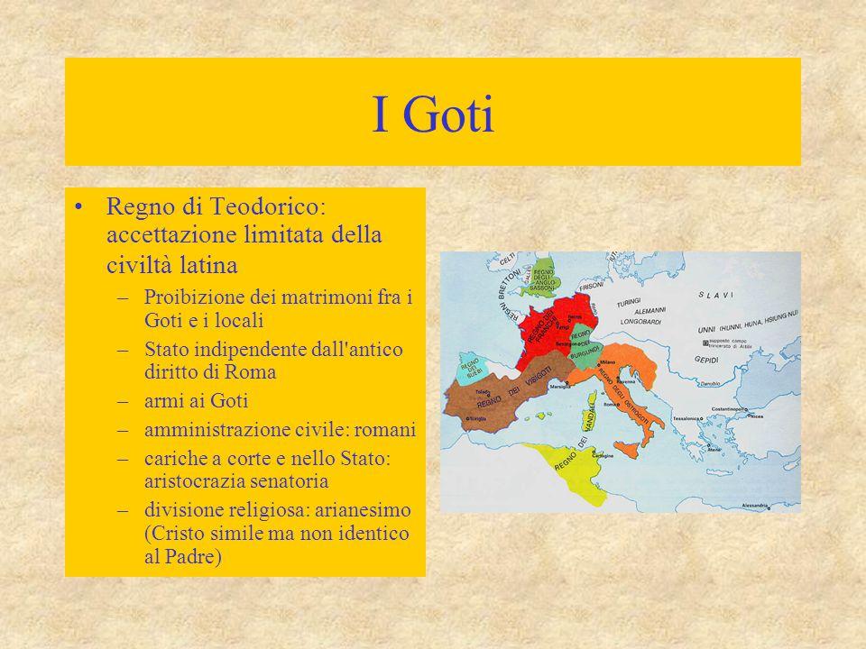 I Goti Regno di Teodorico: accettazione limitata della civiltà latina