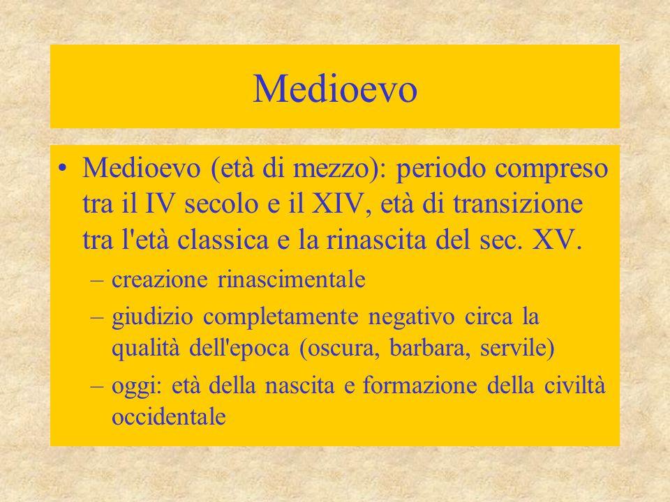 Medioevo Medioevo (età di mezzo): periodo compreso tra il IV secolo e il XIV, età di transizione tra l età classica e la rinascita del sec. XV.