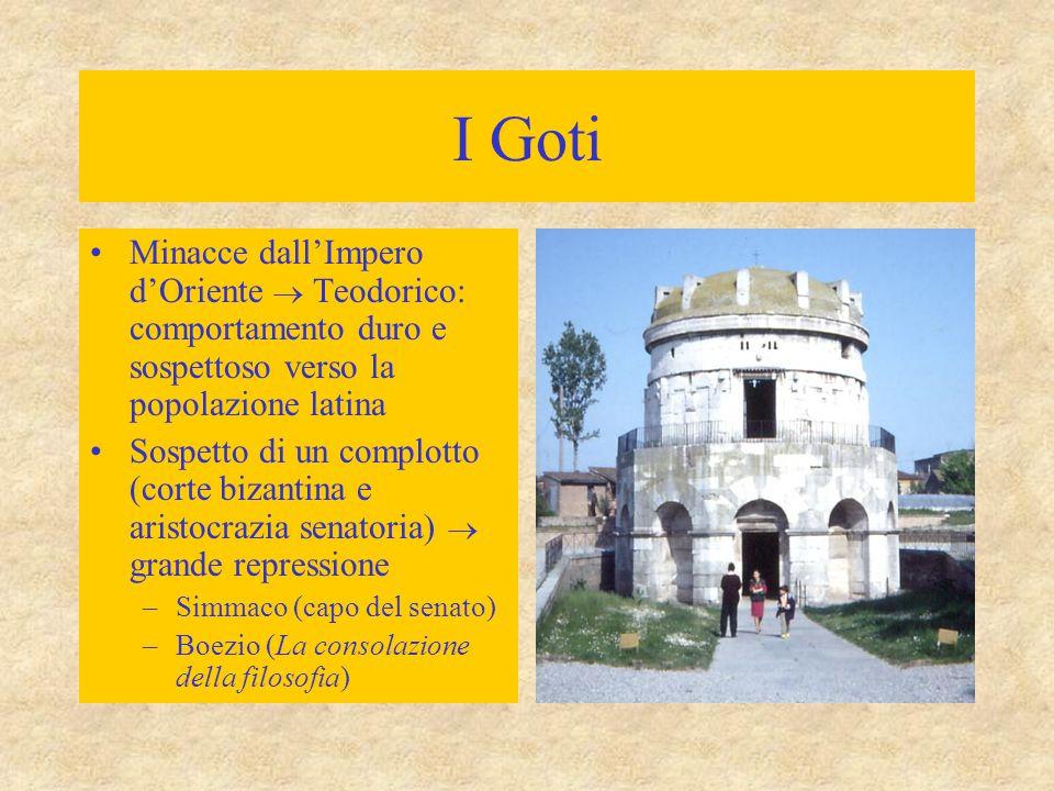 I Goti Minacce dall'Impero d'Oriente  Teodorico: comportamento duro e sospettoso verso la popolazione latina.