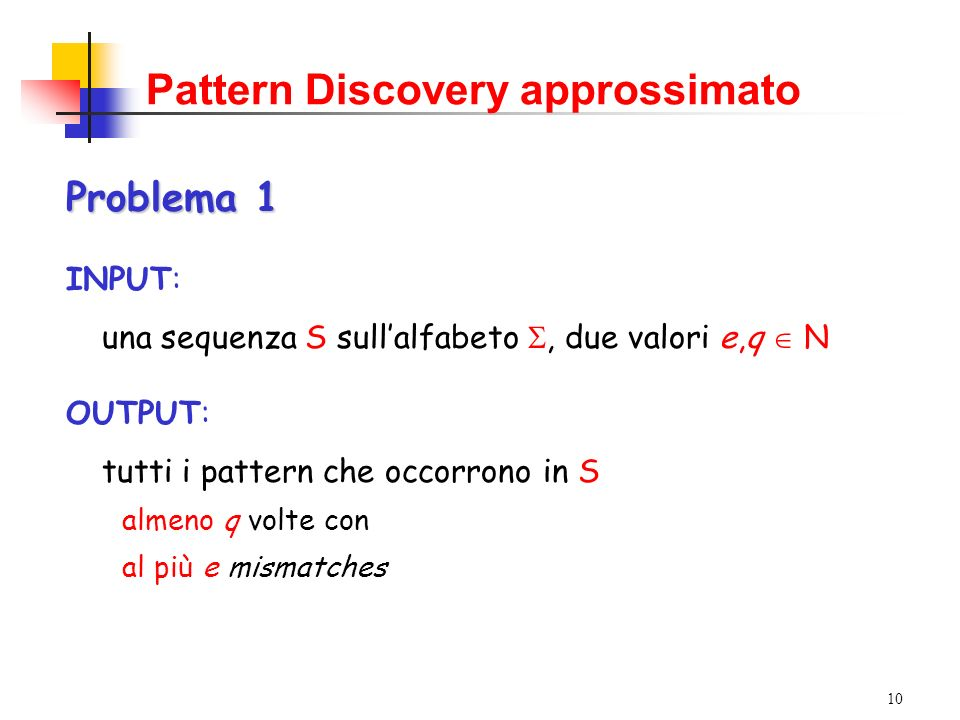 Pattern Discovery approssimato