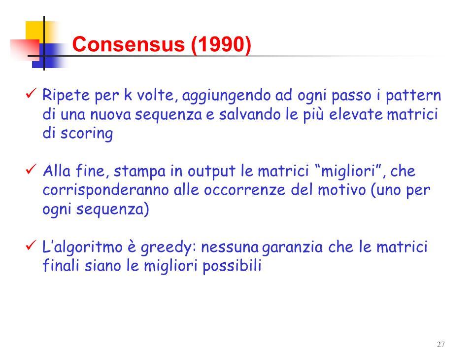 Consensus (1990) Ripete per k volte, aggiungendo ad ogni passo i pattern di una nuova sequenza e salvando le più elevate matrici di scoring.