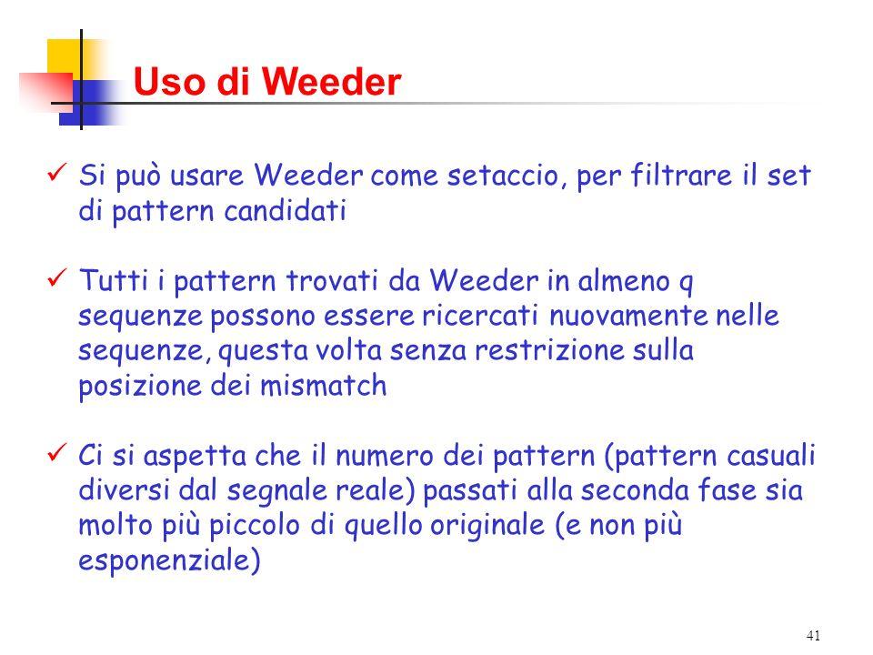 Uso di Weeder Si può usare Weeder come setaccio, per filtrare il set di pattern candidati.