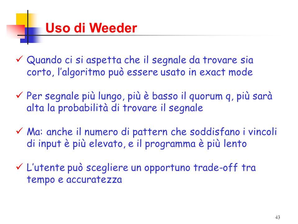 Uso di Weeder Quando ci si aspetta che il segnale da trovare sia corto, l'algoritmo può essere usato in exact mode.