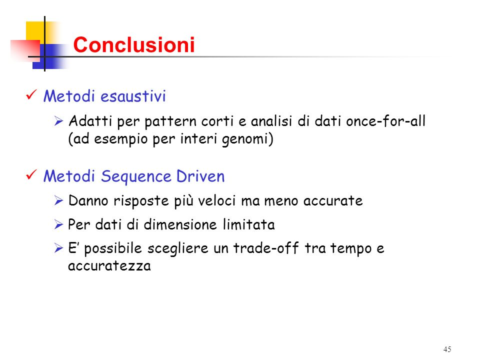 Conclusioni Metodi esaustivi Metodi Sequence Driven