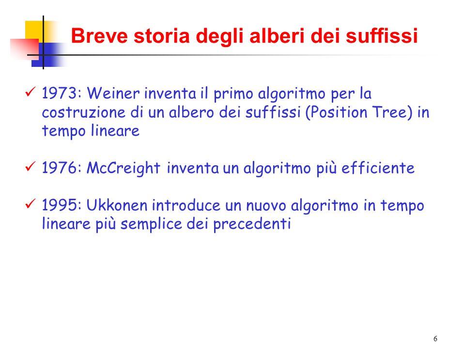 Breve storia degli alberi dei suffissi
