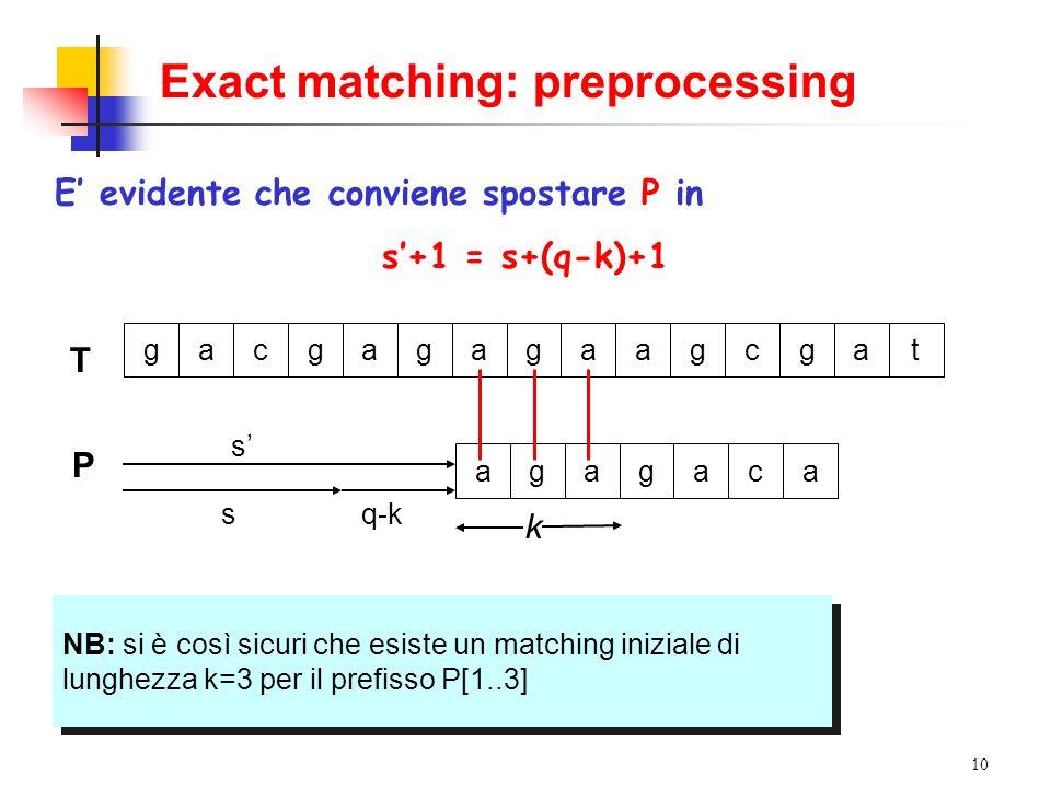 Exact matching: preprocessing