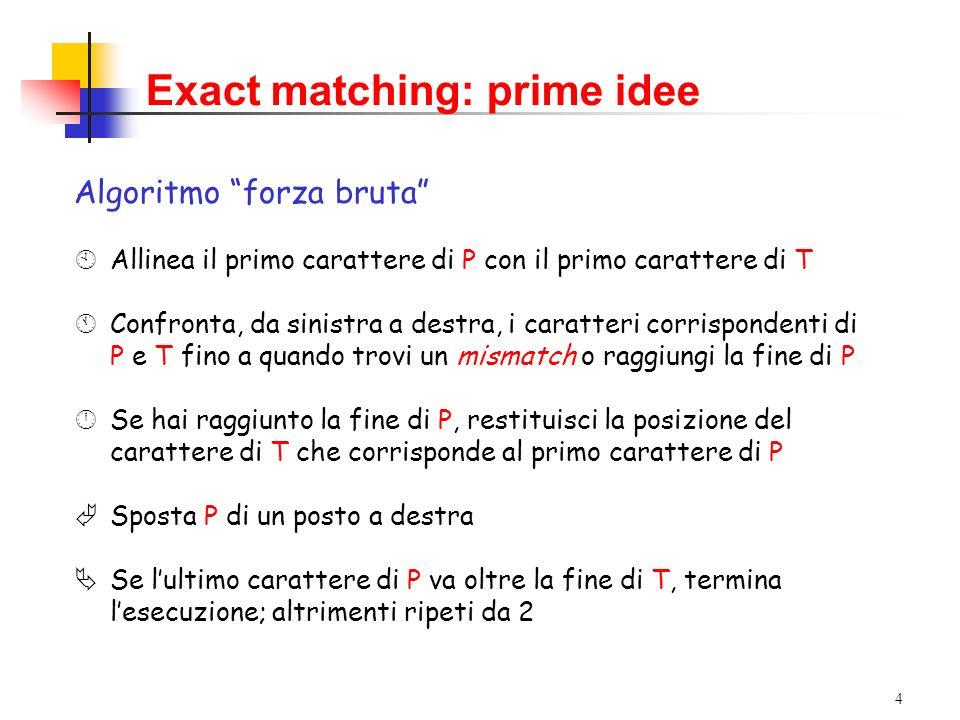Exact matching: prime idee