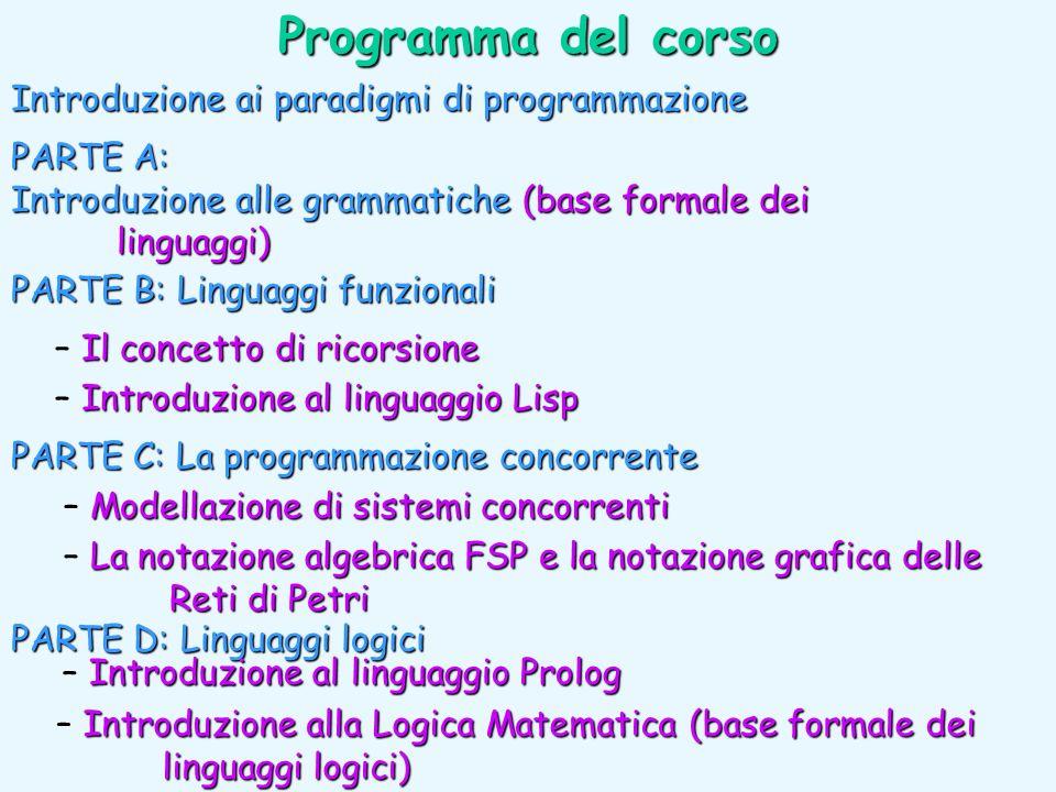 Programma del corso Introduzione ai paradigmi di programmazione