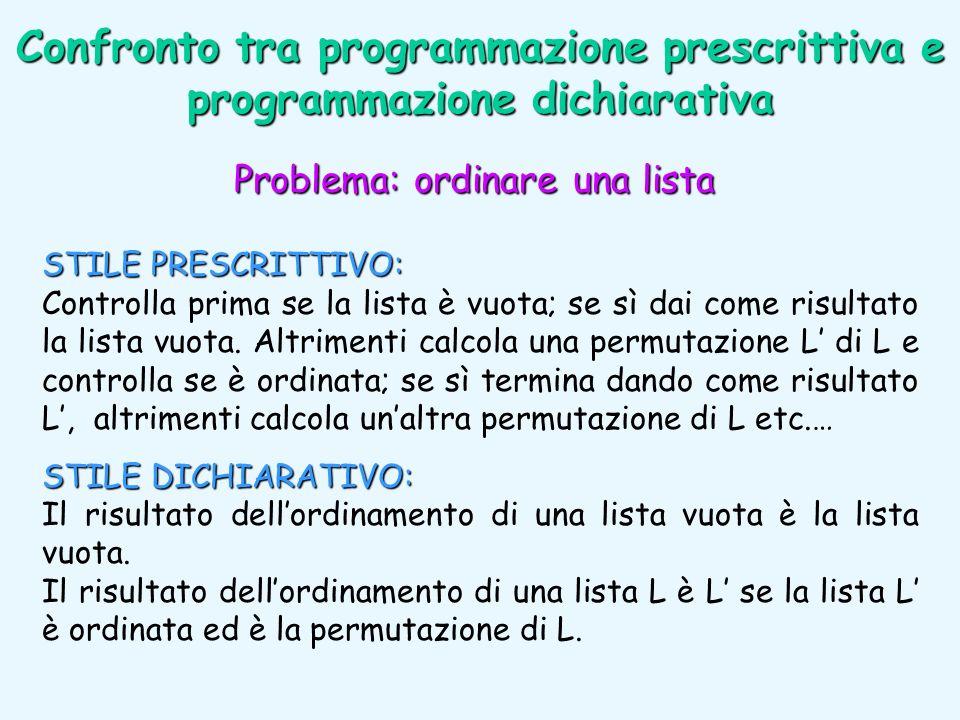 Confronto tra programmazione prescrittiva e programmazione dichiarativa