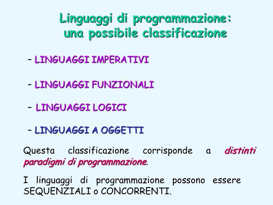Linguaggi di programmazione: una possibile classificazione