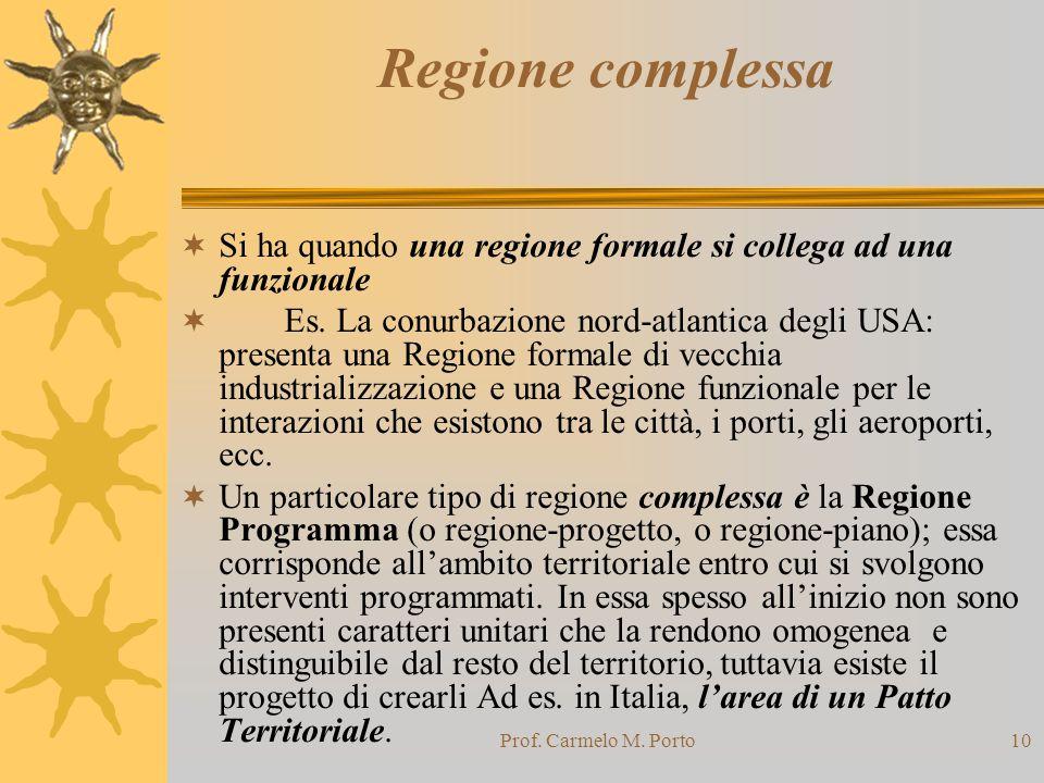 Regione complessa Si ha quando una regione formale si collega ad una funzionale.