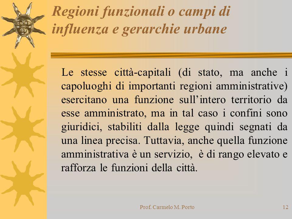 Regioni funzionali o campi di influenza e gerarchie urbane