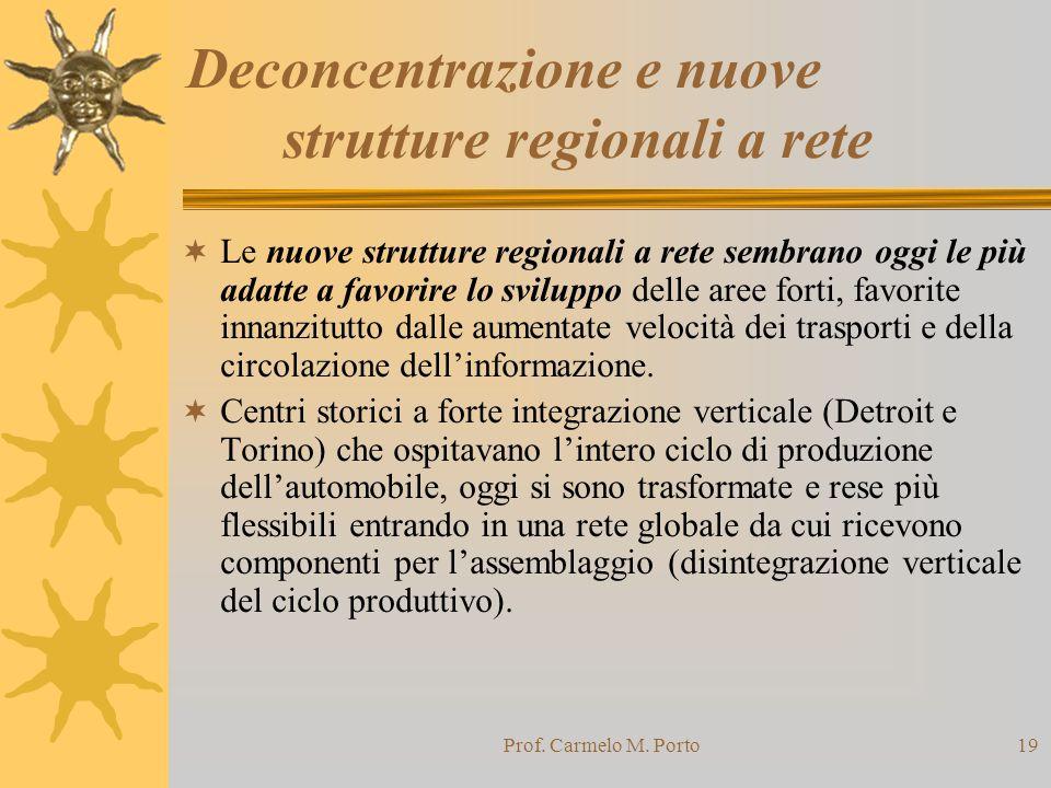 Deconcentrazione e nuove strutture regionali a rete
