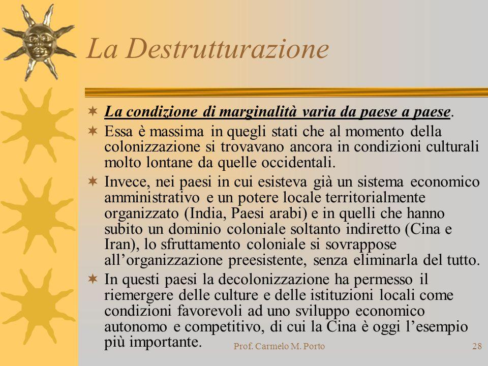 La Destrutturazione La condizione di marginalità varia da paese a paese.