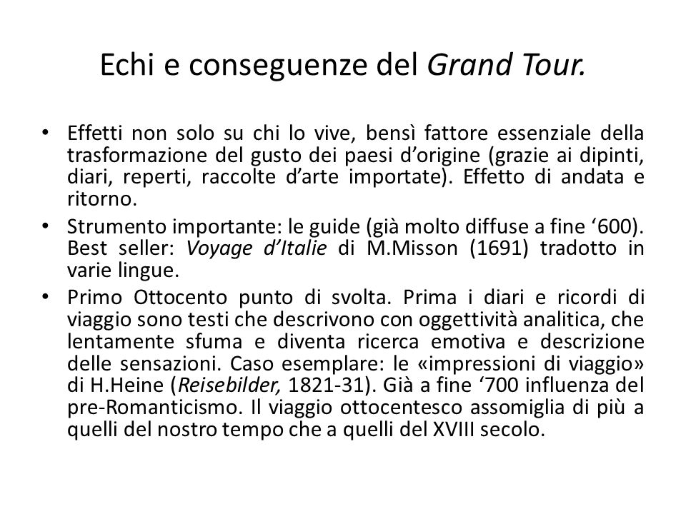 Echi e conseguenze del Grand Tour.