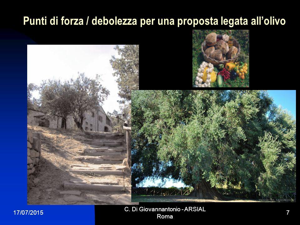 Punti di forza / debolezza per una proposta legata all'olivo