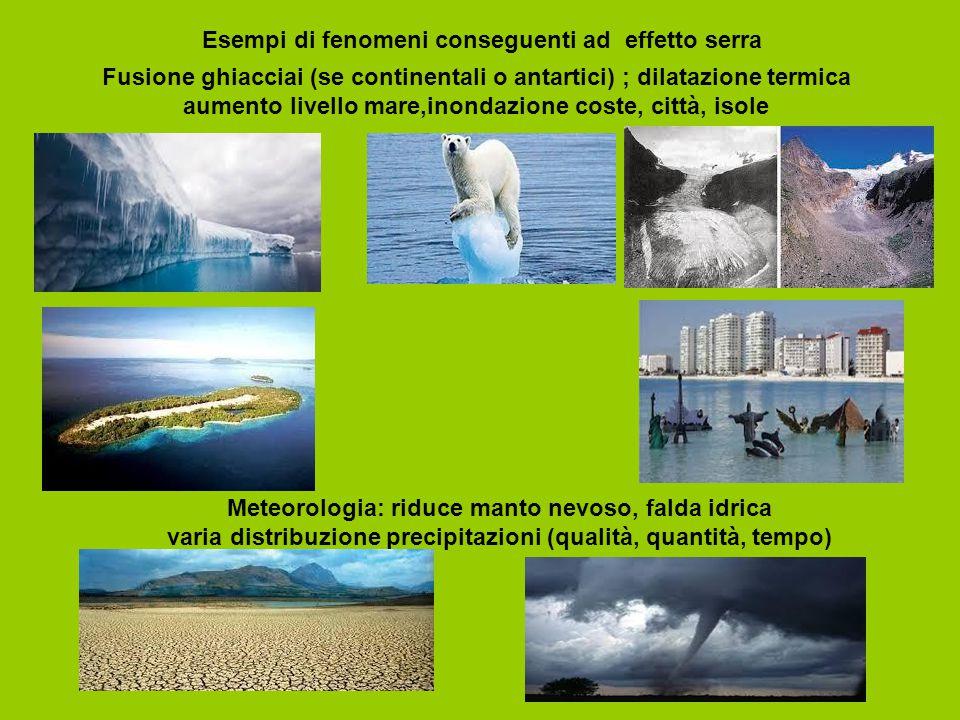Esempi di fenomeni conseguenti ad effetto serra