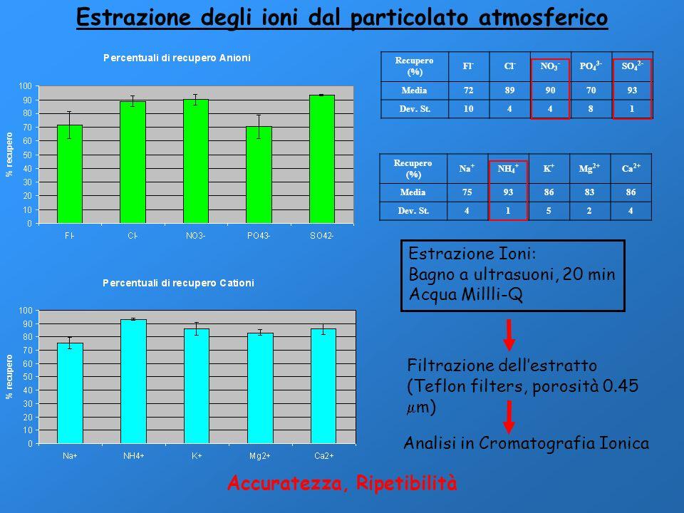 Estrazione degli ioni dal particolato atmosferico