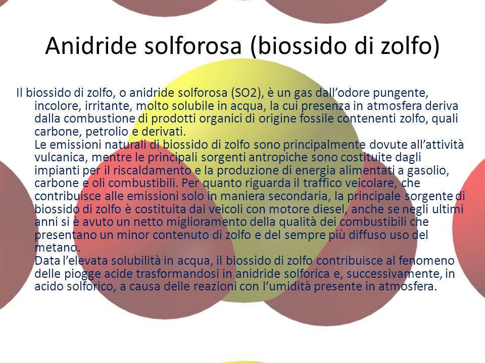 Anidride solforosa (biossido di zolfo)