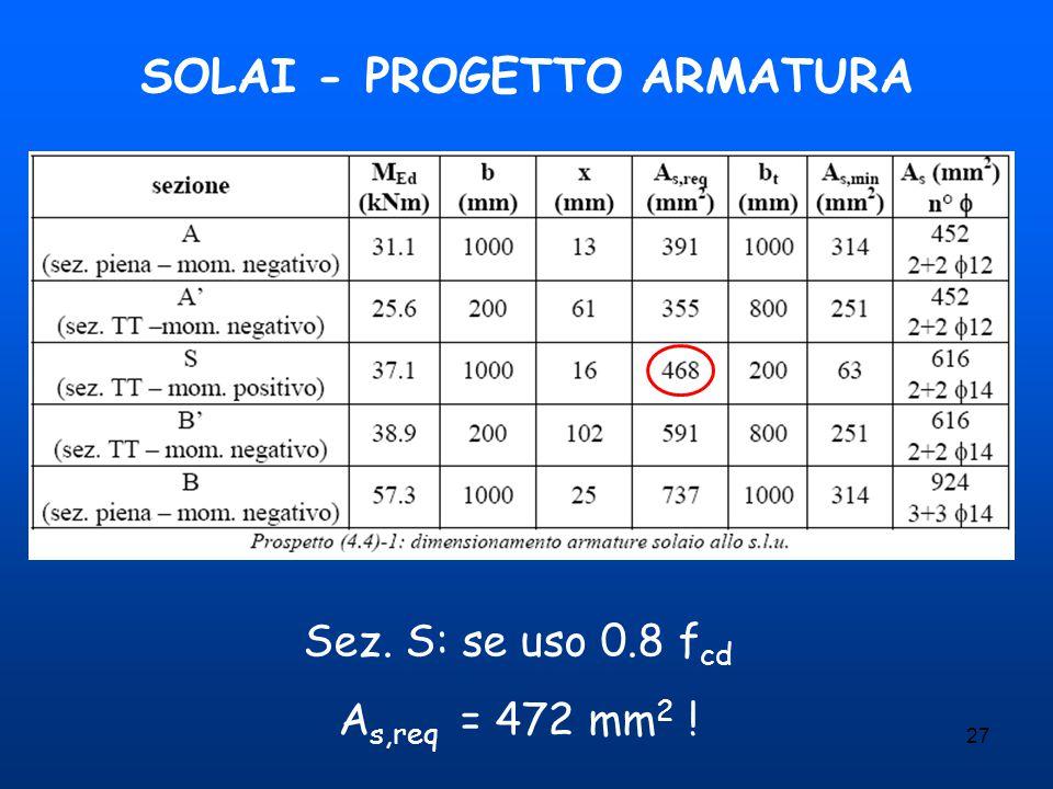 SOLAI - PROGETTO ARMATURA